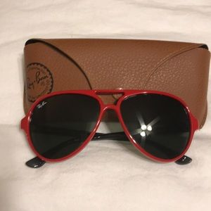 Ray Ban - Red and Black Cats Aviator